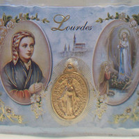 Our Lady of Lourdes Medal Prayer Card Religious Gifts Medallion Pendant Jewelry