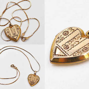 Vintage 10K Yellow Gold Filled Heart Locket Necklace, 14K Gold Filled Cobra Chain, Chased, Floral, Sweetheart, Initials H S #c494