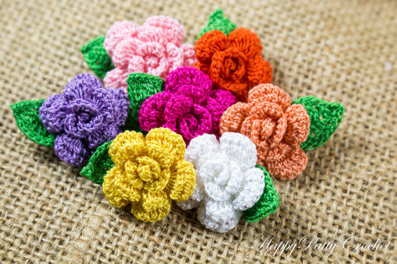 Crochet Mini Rose Pattern Flower From Happypattycrochet On Etsy
