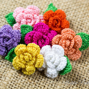 Crochet Mini Rose Pattern - Flower Applique Pattern - Easy Crochet Flower Pattern - Crochet Rose Pattern - Instant Download