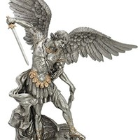 """RELIGIOUS STATUE - FIGURE, A Veronese St. Michael statue in a pewter style finish with golden highlights, 29"""""""