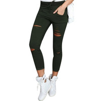 Cotton Ankle-Length Pants Women Skinny Hole Ripped Pants High Waist Stretch Slim Pencil Trousers Plus Size S-XXL