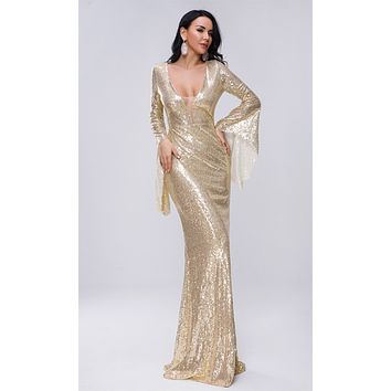 Mystic Magic Gold Sequin Long Bell Sleeve V Neck Maxi Dress