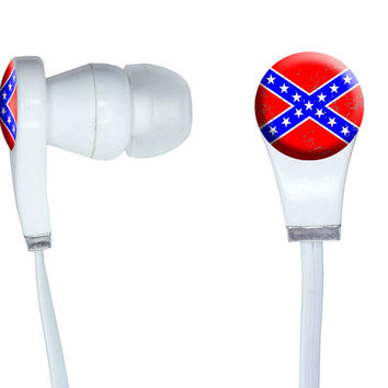 Confederate Southern Rebel Flag Distressed In-Ear Headphones