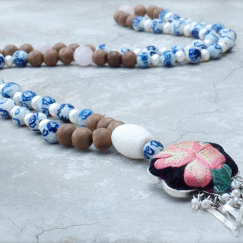 Tribal pendant Silk embroidery 108 prayer beads Mala Folk art Rose quartz Pearls Pink flower porcelain Chinese Ladybird Dragonfly Ethnic