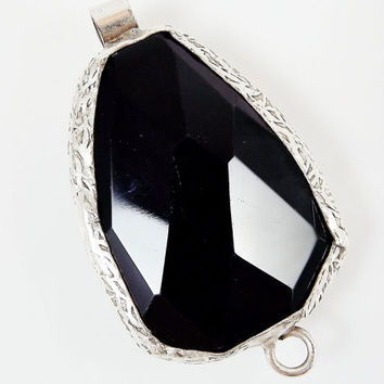 Large Organic Shaped Faceted Black Onyx Connector Pendant - Silver Plated 1pc