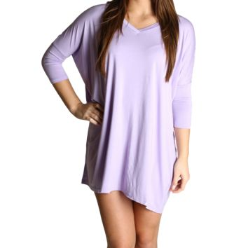 Lilac Piko Tunic V-Neck Half Sleeve Dress