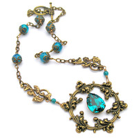 Circle of Life Vintage Style Necklace with Aqua Green Rhinestone
