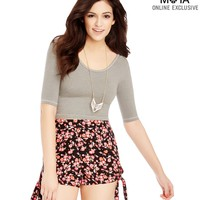 Aeropostale Womens Floral High-Waisted Side-Tie Slim Fit Shorts - Black,