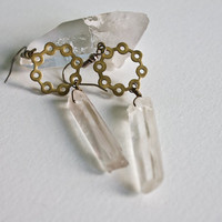 Raw Crystal Earrings Natural Quartz Earrings Crystal Revolver Geometric Crystal Point Octagon Dangle Statement Earring