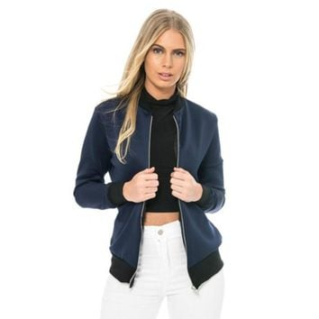 Fashion Women MA1 Basic Bomber Jacket Autumn Winter Classic Style Zip Up Coat Long Sleeve Jacket Solid Color Slim Fit Outerwear