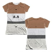 We Bare Bears Bear Stack Juniors Sublimation Allover Print T-Shirt | CartoonNetworkShop.com