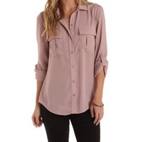 Dusty Pink Crepe Chiffon Button-Up Top by Charlotte Russe