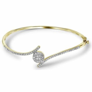 14kt Yellow Gold Women's Princess Round Diamond Soleil Bangle Bracelet 3-4 Cttw - FREE Shipping (US/CAN)