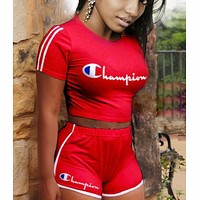 Champion 2018 new sexy women's letter print two-piece F0622-1 Red