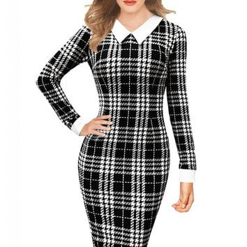 Plaid Houndstooth Long Sleeve Pointed Flat Collar Midi Bodycon Dress