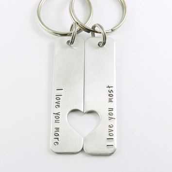 I love you more & I love you most - Couples Keychain Set