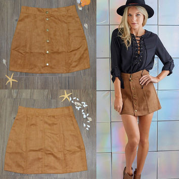 fashion woman skater saia etek faldas Jupe Gonna Petite Vintage Corduroy Button Front A-Line Skirt femme