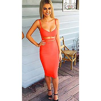 The Nina Cut Out Midi Dress Tiger Orange