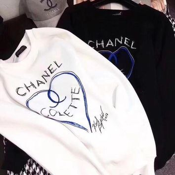 ONETOW CHANEL Women  Fashion Print Round Neck Pullover Sweater