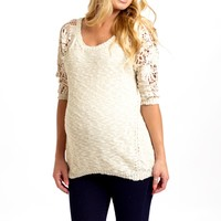 Cream-Crochet-Sleeve-Maternity-Sweater