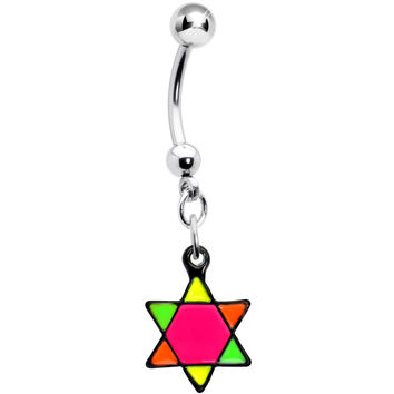 Pink Neon Enamel Star of David Dangle Belly Button Ring
