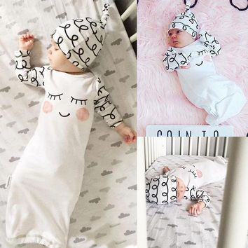 Childrne kids New Arival Boys Girls Sleepwear Cotton Sleepy Eyes Rosy Cheeks Outfit Baby Gown Hat Infant Newborn Gift 2pcs Set