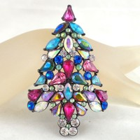 2006 3rd Annual Avon Multi Color Rhinestone Christmas Tree Pin Book Piece