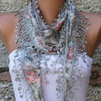 Multicolor Shawl  - Cotton  Scarf -  Cowl with Lace Edge Gray - fatwoman - Bridesmaids Gifts