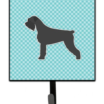 Giant Schnauzer Checkerboard Blue Leash or Key Holder BB3773SH4