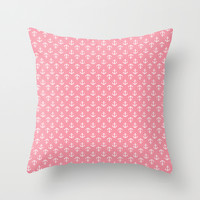 Pink Anchors Pattern Throw Pillow by Heartlocked