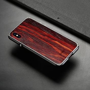 Wooden iPhone X Case Natural Wood With Fiber+Metal Frame
