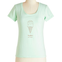 ModCloth Food, French Mid-length Short Sleeves Best French Forever Tee in Glace