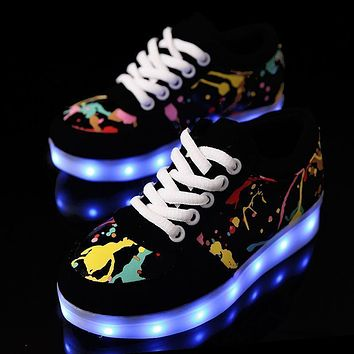usb led shoes children's luminous shoes sneakers with kids light up shining glowing shoes for girls slippers lights schoenen 45