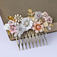 Pink Hair Comb  Shabby Chic Hair Comb Bridal Hair Comb by lonkoosh