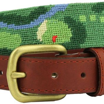 Front Nine Needlepoint Belt in Green by Smathers & Branson