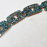 Turquoise Link Bracelet Sterling Silver  Chip Inlay Unique Ethnic Southwestern Gemstone Tested