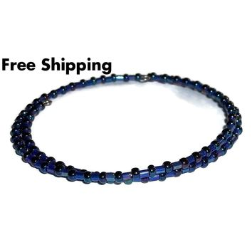 Plus Size Elegance Navy Blue Shimmering Bugle & Seed Bead Stackables Artisan Crafted Bracelet (L-XXL)