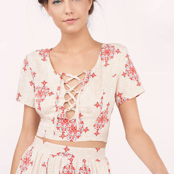 Tiegan Printed Lace Up Crop Top