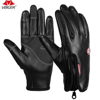 Vbiger Anti-slip  Gloves Touch Screen Gloves Cycling  Warm Winter Gloves for Men and Women Zipper Decoration