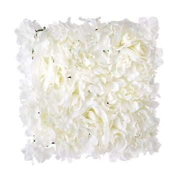 "Cream Artificial Flower Tile Mat for Flower Walls - 16"" Square"