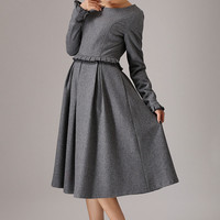 Gray wool dress winter dress maxi dress (764T)