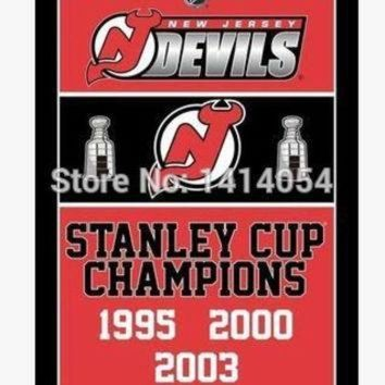 DCCK8X2 Jersey Devils Stanley Cup Champions Flag 150X90CM NHL 3X5FT Banner 100D Polyester flag