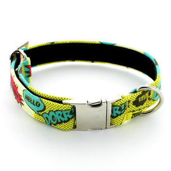 Comic Strip Handmade Canvas Dog Collar With Metal Buckle and Velvet Lining