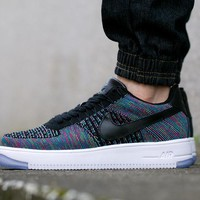 Nike Air Force 1 Rainbow 817419-002 Black For Women Men Running Sport Casual Shoes Sneakers
