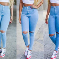 High Rise Slim Stylish Ripped Holes Jeans [4919480068]