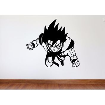 HWHD Dragon Ball Z Wall Decal Bedroom DBZ Goku Removable Vinyl Wall Decal for Kids Room Goku Wall Art Decals