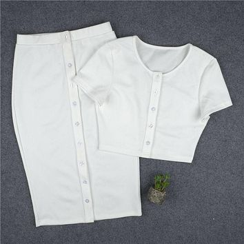 2 piece set women suit winter crop top and skirt set female front button white skirt knee length outfit two piece set D0664
