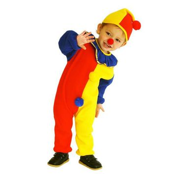 Children Baby Clown Cosplay Costume Jumpsuits & Rompers+Hat+Nose Christmas Day New Year Halloween Super cheap Costume