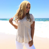 Covet Pocket Jersey Top In Oatmeal